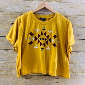 Love Peace & Lazy Days Crop Top Mustard Pattern L